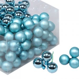 Glob sticla albastru lucios/mat 2,5cm S/144
