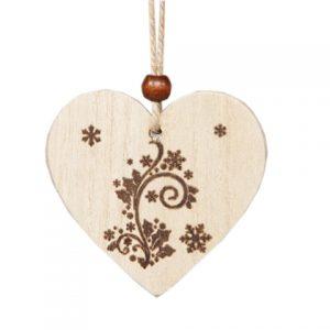 Ornament craciun inima 7.5x7cm natur S/2