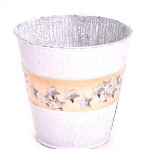 Vas metal rotund 15X15cm alb crem