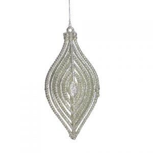 Lacrima argintie cu cristal 12x6cm