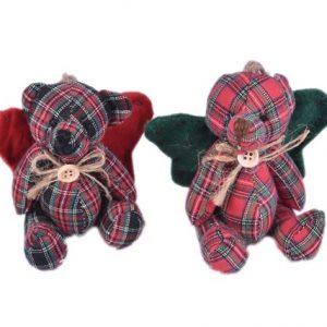 Ursulet textil cu aripi 10x9cm Rosu Verde