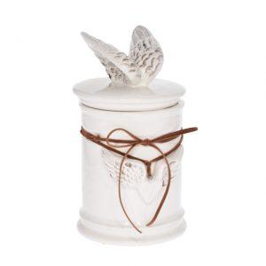 Vas ceramic cu capac si aripi de inger