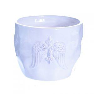 Vas ceramic rotund cu aripi de inger 12x10cm alb