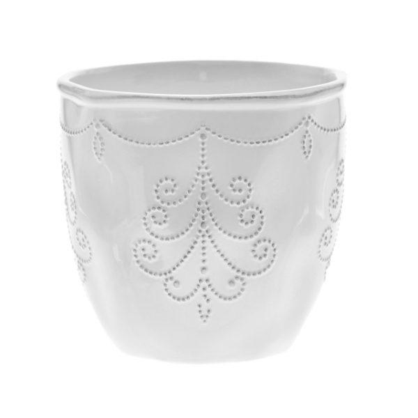 Ghiveci din ceramica model ghirlanda 10.7X9.5 cm alb