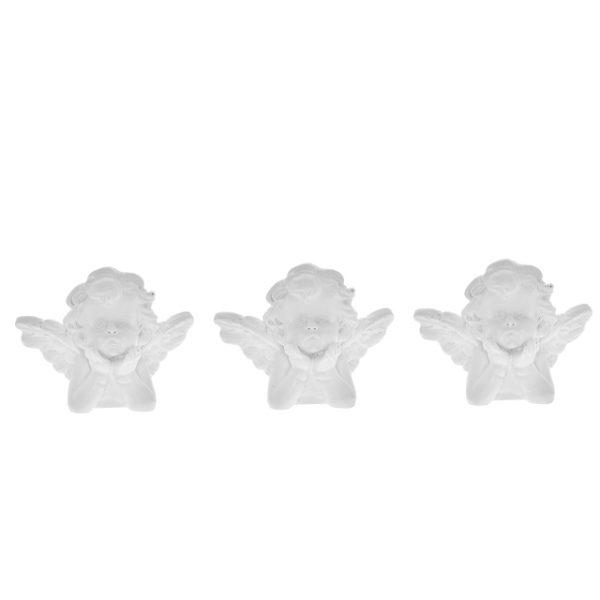 Set 3 Bust ingeras polirasina 4 cm alb