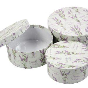 Cutie rotunda cu imprimeu lavanda
