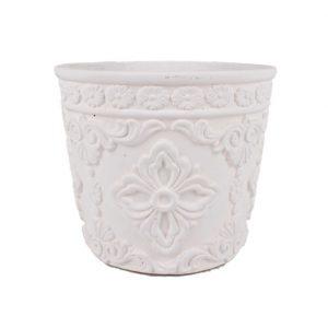 Ghiveci rotund alb din ciment cu flori 11x9.5 cm