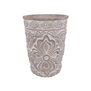 Ghiveci rotund GRI din ciment cu flori 13x17 cm