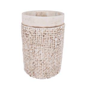 Ghiveci rotund crem din ciment 11x16 cm