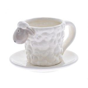 Ceasca ceramica miel cu farfurie alba
