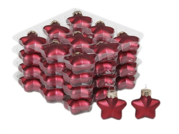 Glob stea sticla 4 cm rosu mat 36 buc/set