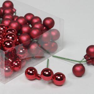 Glob de sticla 3x2.5 cm rosu lucios-mat 30 buc/Set