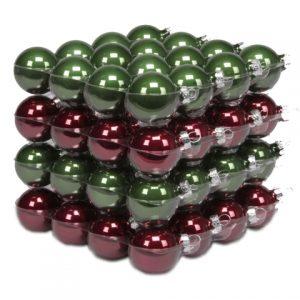 Glob sticla 4 cm verde-visiniu 64 buc/set