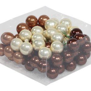 Set 72 globuri sticla in cutie 3 cm, crem-maro lucios