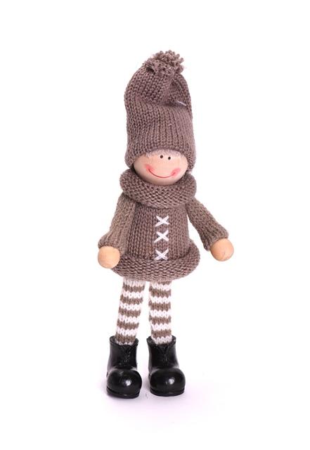 Figurina fetita textil in picioare 15cm maro