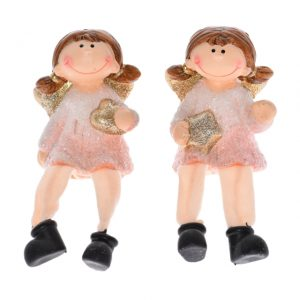 Figurine înger cu sclipici, ceramică 7x5x9cm roz 2 tipuri