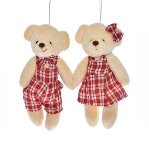 Ursulet textil cu agatatoare 16x9 cm rosu 2 modele