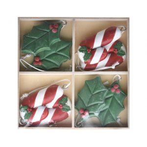 Ornamente dulciuri in cutie, cu agatatoare, poliester 11x13x1.5 cm rosu, verde 8 buc/set