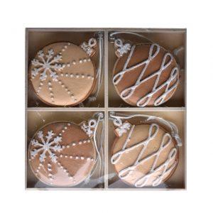 Glob turta dulce in cutie, cu agatatoare, poliester 11x13x1.5 cm crem 8 buc/set