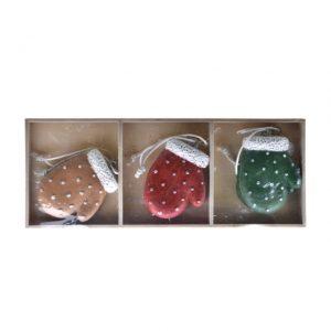 Manusa decorata in cutie, cu agatatoare, poliester 19.5x7.5x2.2 cm crem, rosu, verde 6 buc/set