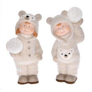 Copilas in haine albe din material pufos, cu glob luminos, ceramica