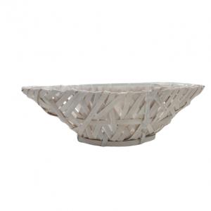 Cos decorativ model barca alb L37 cm, Ornament pentru flori