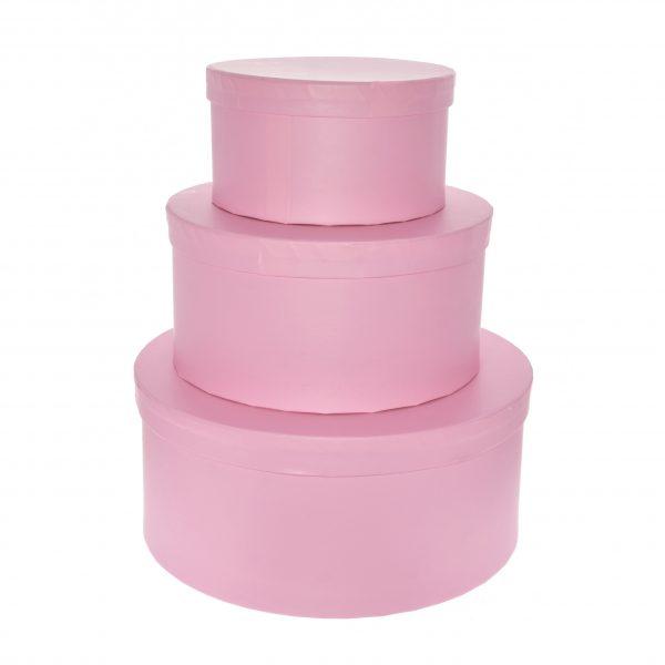 Cutie rotunda decorativa roz pentru cadouri