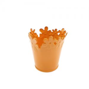 Galetusa din tabla brodata portocaliu, Ghiveci pentru flori