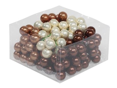 Set 144 globuri sticla in cutie 2.5 cm, crem-maro lucios