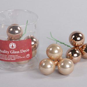 Set 12 globuri sticla in cutie 3 cm, bronz mat-lucios