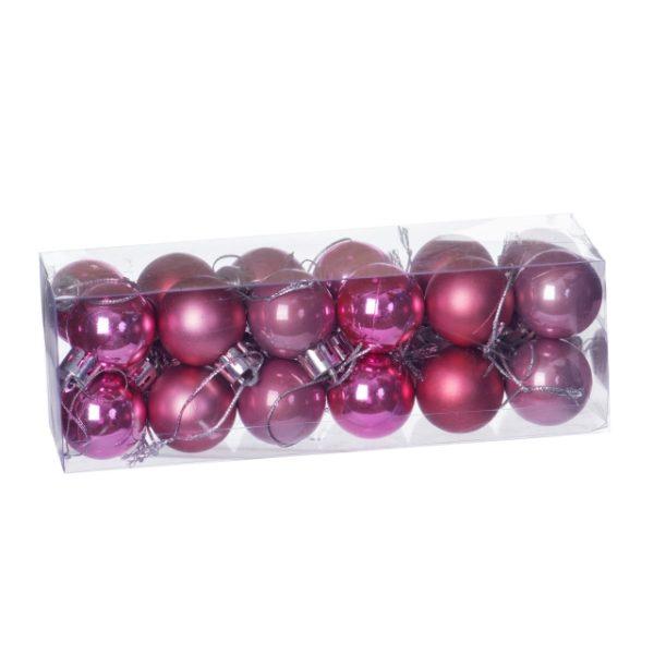 Set 24 globuri plastic in cutie, 3 cm, 3 nunte roz