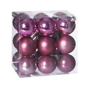 Set 18 globuri plastic in cutie, 5 cm, 3 nunate roz