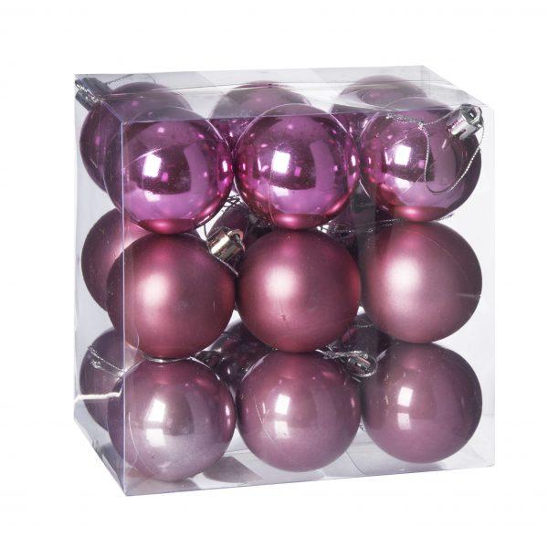 Set 18 globuri plastic in cutie 5 cm, 3 nuante roz