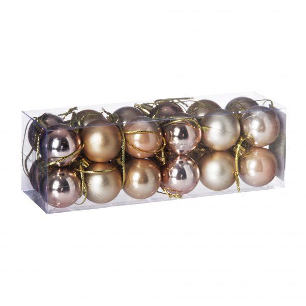 Set 24 globuri plastic in cutie, 3 cm, 3 nunte maro