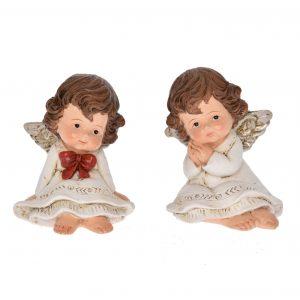 Set 2 Ingeri asezati, cu rochie cu dantela plastic 6,1 x 5,1 x 8,2 cm alb