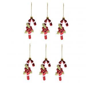 Ornament acadea de agatatoare, plastic 11,5x4,5 cm rosu 6/set