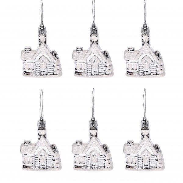 Set 6 casute argintii cu agatatoare, plastic 5,5x7 cm