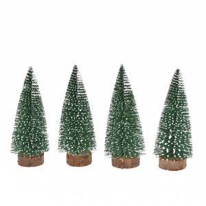 Set 4 Braduti inzapeziti din plastic, 10 cm, verde