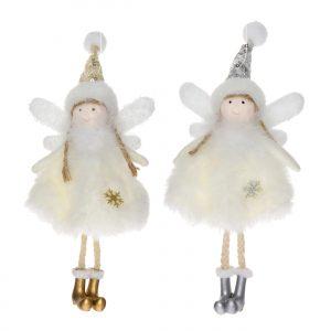 Inger textil cu picioarele atarnand, cu agatatoare, 17 cm, argintiu-auriu, 2 modele