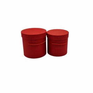 Set 2 cutii rotunde rosu, alb, lila