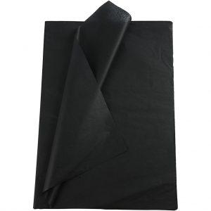 Set 20 coli hartie de matase, 50x75 cm, negru