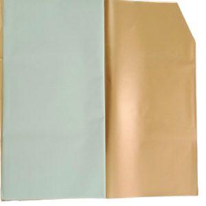 Hartie ambalaj dublu fatetata impermeabilă, verde deschis - auriu, 20 de foi